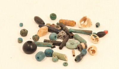 Early and mid Egyptian ancient bead lot shell faience and glass
