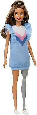 Barbie FXL54 Fashionistas Doll Number 121 with Long Brunette Hair and Prosthetic