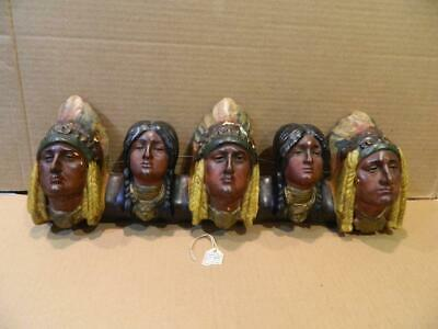 Chalkware Wall Hanging 5 Native American Indian Chief's Heads Antique