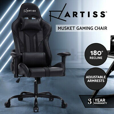 Artiss Gaming Office Chair Computer Chairs Leather Seat Racing Racer Black