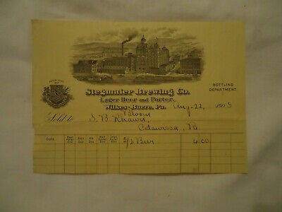 Stegmaier Brewing Co WILKES-BARRE PA lager beer & porter 1905 billhead