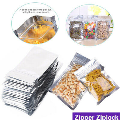 Ziplock Stand Up Bags Clear / Silver Aluminum Foil Mylar Food Packaging Pouches