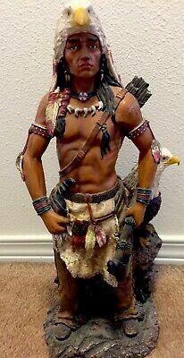 Indian Warrior Statue With American Eagle