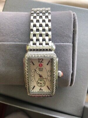 Stainless Michele Deco .57cts Diamond Mother of Pearl Dial Watch MW06V01A1025