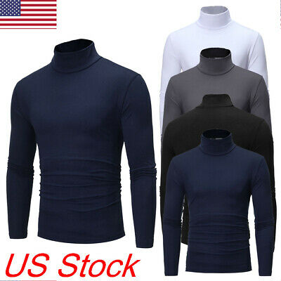 US Mens Thermal Turtle Neck Skivvy Turtleneck Sweaters Stretch Shirt Tops New