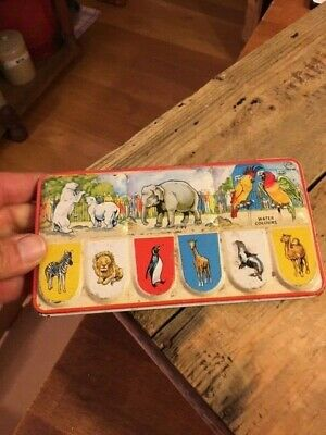 Vintage Water Colours / Paints in Colourful Tin – Paint Box – Animals! –