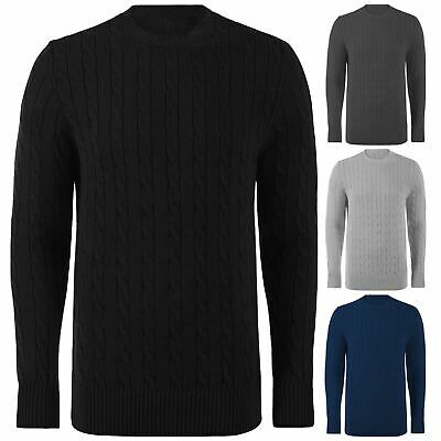 Mens Chunky Cable Weaves Knit Jumper Thick Warm Winter Knitted Sweater Pullover