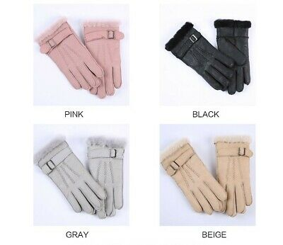 Fashion Multi Color Heavy Type Children Real Leather Wool Fur Glove Very Warming