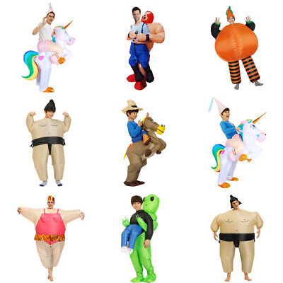 Adult/Kid Inflatable Funny Blow Up Fancy Dress Carry On Ride Costume Fat Suit SA