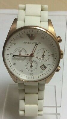 Emporio Armani AR5920 White Silicone Rubber Rose Gold Womens Chronograph Watch