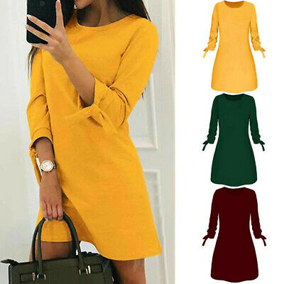 Sexy Womens Plus Size Long T-shirt Ladies Casual Party Mini Dress Blouse Tops US