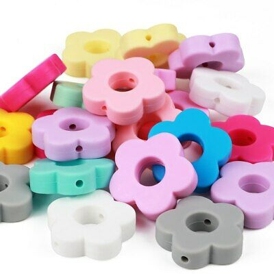 Food Grade Flower Silicone Spacer Beads DIY Baby Teething Necklace Toy Jewelry