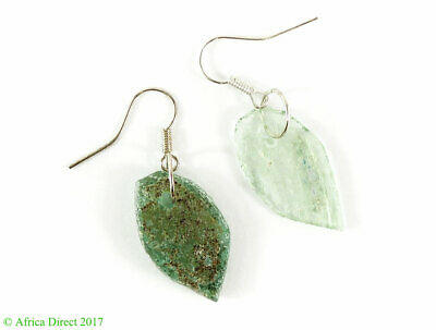 Ancient Roman Glass Earrings Beads Green Bowl Fragments Afghanistan SALE WAS $19