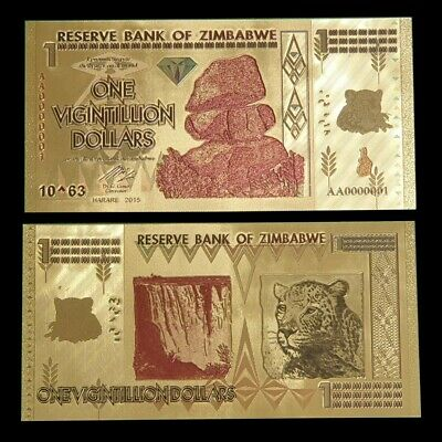 Zimbabwe 1 Vigintillion Dollars 24K Gold Foil Banknote 100 Trillion Series