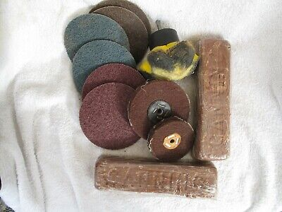 Collection of metal polishing buffs, abrasive discs and soap       *