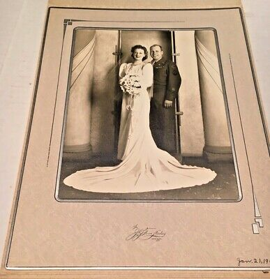 Post WWII US Army Large Wedding  Portrait Chicago 1946