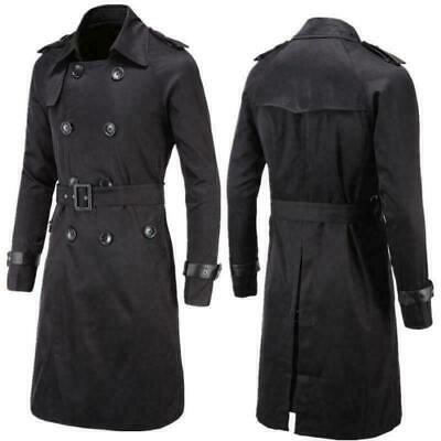 Mens Double Breasted Trench Coat Belted Long Jacket Male Stylish Coat Parkas
