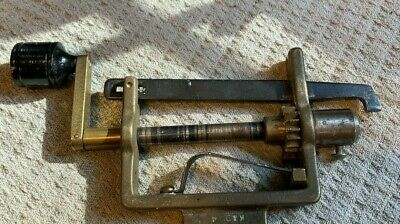 Clock Mainspring Winder Vise Type 8 inches Brass Marked GFC Antique