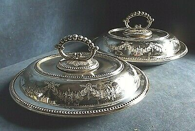 "Good PAIR Large 11"" ~ SILVER Plated ~ Engraved SERVING DISHES ~ c1890"