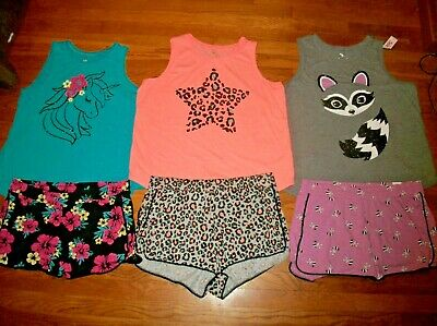 Justice 2 Pc Graphic Tank Top & Dolphin Shorts Set Girls Outfit Sz 22 24 Plus