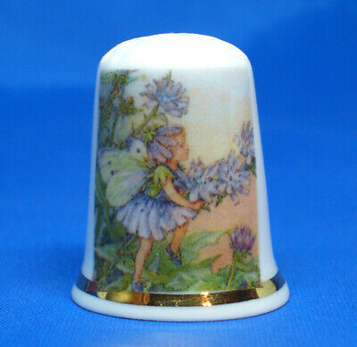 Porcelain China Collectable Thimble Free Gift Box Blue Rose Swarovski Crystal