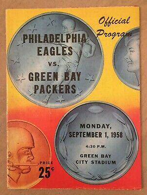 Vintage 1958 Nfl Philadephia Eagles @ Green Bay Packers Football Program Lambeau
