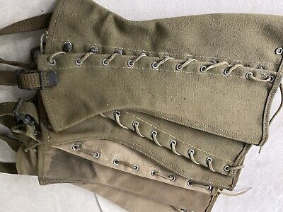 2 Pair WWII US Vintage M1938 Military Army Leggings Gaiters Spats Canvas - 2R