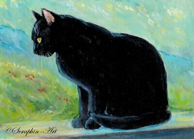 Black Cat Original ACEO Kitten Acrylic Miniature Landscape Painting Seraphin-Art