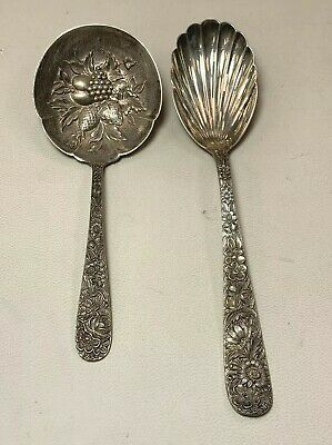 Repousse S. Kirk & Son Vintage Sterling Silver Berry Spoon & Sugar Shell Spoon