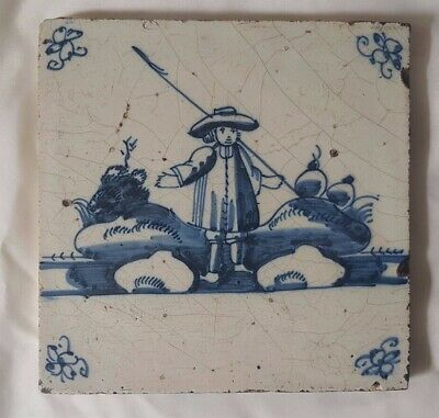 Charming Antique Blue And White Figurative Delft Tile. Approx 13Cm