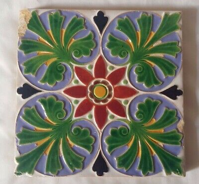 STRIKING MINTON majolica colourful SYMMETRICAL DESIGN ANTIQUE 6 INCH TILE