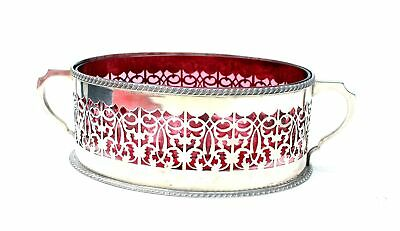 Vintage T.W.Marked EPNS Silver Plate Bowl W/Cranberry Glass Centre UNBOXED - B65