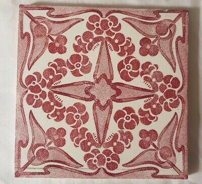 STRIKING ENGLISH RED SYMMETRICAL art nouveau ANTIQUE 6 INCH TILE
