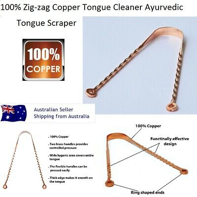 FLEXIBLE COPPER TONGUE SCRAPER Cleaner Ayurvedic Dental Oral Care No smell tool