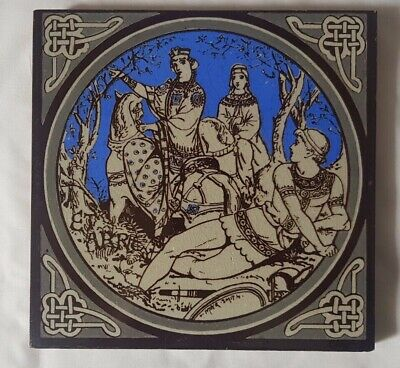 STUNNING MINTON NARRATIVE MAIDENS ON HORSEBACK moyr-smith ANTIQUE 6 INCH TILE
