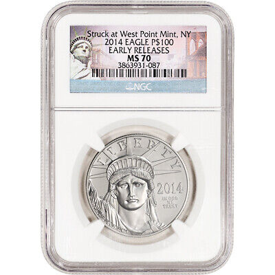 2014 American Platinum Eagle 1 oz $100 - NGC MS70 Early Releases New York Label