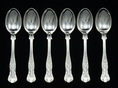 "6 Heavy Vintage Sheffield Epns A1 Silver Plated Kings Pattern 5.25"" Tea Spoons"