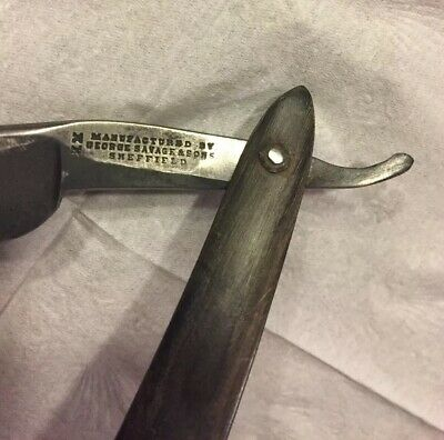 Antique 1800's George Savage & Sons XX Straight Razor Sheffield W/partial Case