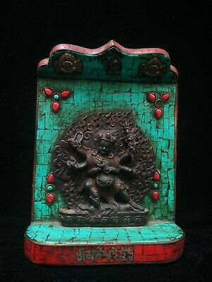 Collection Ancient Chinese Tibet Wood Inlaid Turquoise Coral Buddha Decoration
