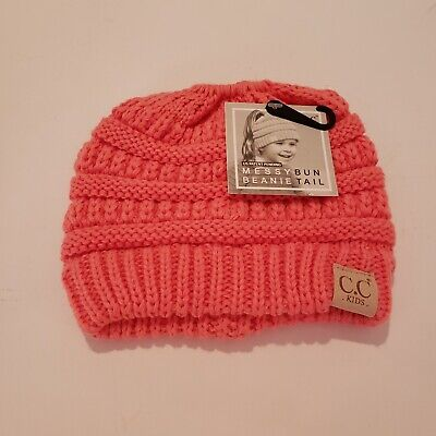 CC Kids Girls Beanie Tail Messy Bun Ponytail Stretch Knit Beanie Hat PINK NWT
