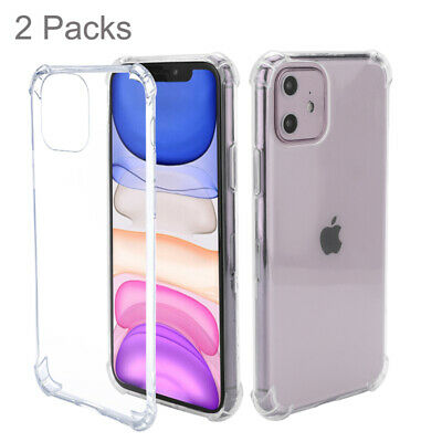 2 Packs Clear Silicone Rubber Grip Bumper Case For iPhone 11 Pro XR X XS Max 8 7
