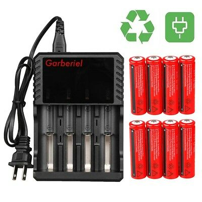 Lot 3.7V 3000mAh Rechargeable Li-ion 18650 Battery For Flashlight Torch+Charger