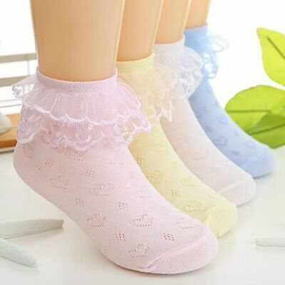 Summer Sweet Girls Kids Breathable Lace Ruffle Short Baby Ankle Socks Cotton
