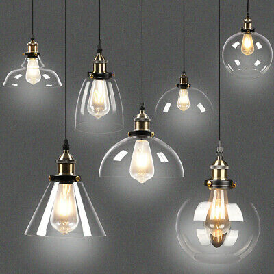 Industrial Pendant Lamp Shade Vintage Glass Lampshade Kitchen Bar Ceiling Light