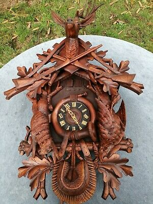 Antique Huge Germany Carved Wood Black Forest Cuckoo Clock Hunt Theme