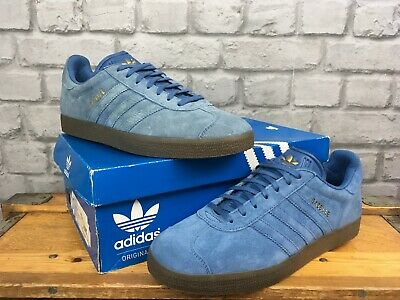 Adidas Originals Mens Gazelle Blue Suede Brown Gum Sole Trainers
