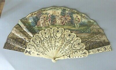 19Th Century Antique Carved & Pierced Bovine Bone Hand Painted Fan