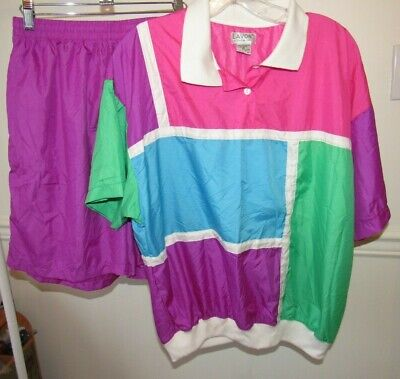 Vintage 1980s LAVON Bright Colorblock Shirt and Shorts Set, XL, Tracksuit