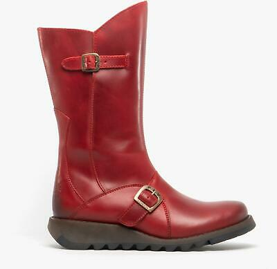 Fly London MES 2 Ladies Womens Real Leather Zip Up Mid Calf Wedge Heel Boots Red