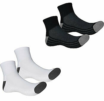 More Mile Twin Pack Coolmax Sports Socks White Black Gym Running Sock 2 Pairs
